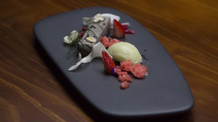Black Sesame Bavarois Dacquoise with Fennel and Strawberries