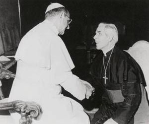 Bishop Fulton Sheen with the Pope.