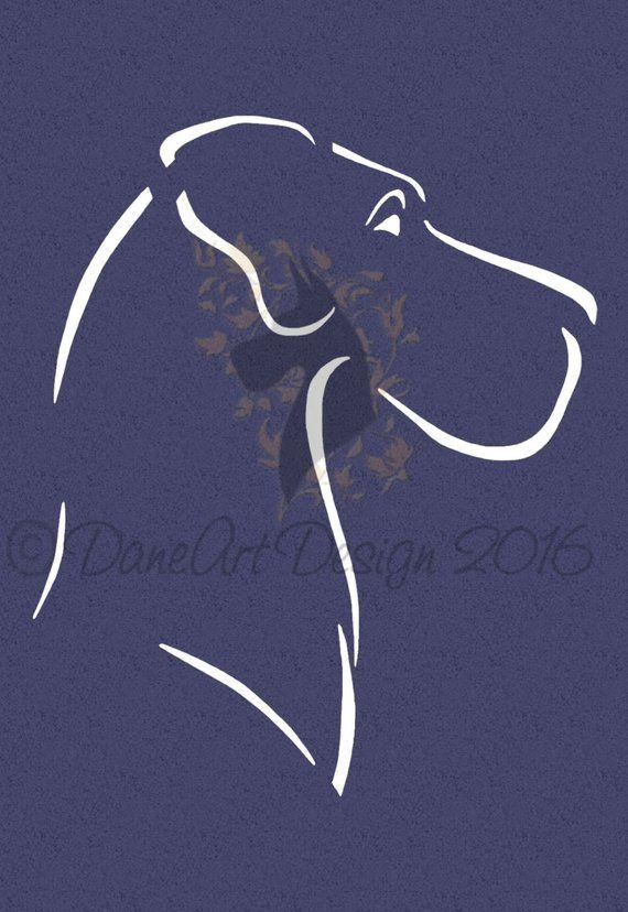 Minimalist Style Great Dane Head Naural Ears From Daneart Design