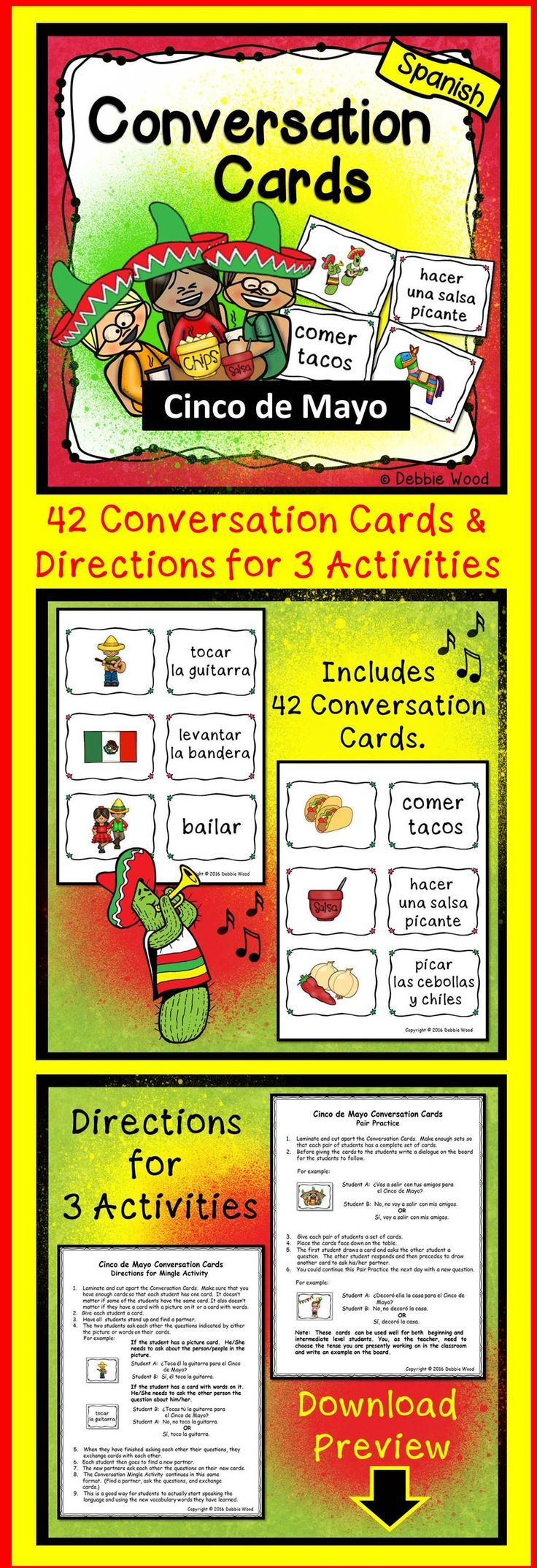 42 Spanish Conversation Cards to help celebrate Cinco de Mayo in my Spanish language class.  It also includes directions for 3 engaging activities.