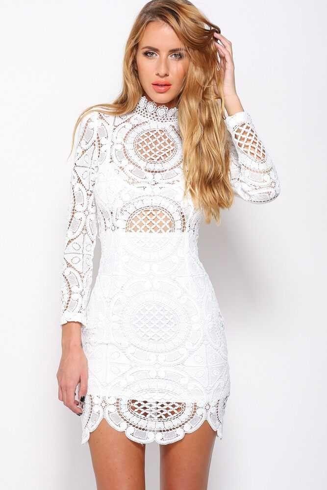 Sukienka koronkowa biała sexy elegancka