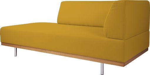 """Fifties lounger i sennepsgult """"Tarantella"""" stoff i 100% bomull. Dimensjoner: L180 x H75 x D84cm. Setehøyde: 42cm,setedybde: 60cm. Kr. 6840,-"""