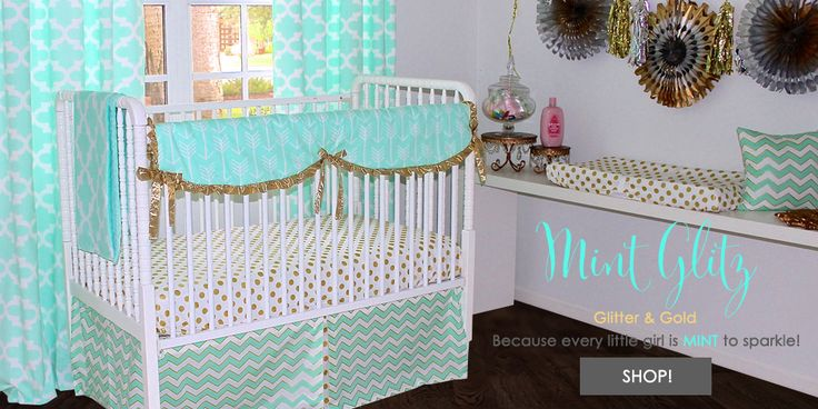 Gold and Mint Baby Nursery www.babybumpbedding.com