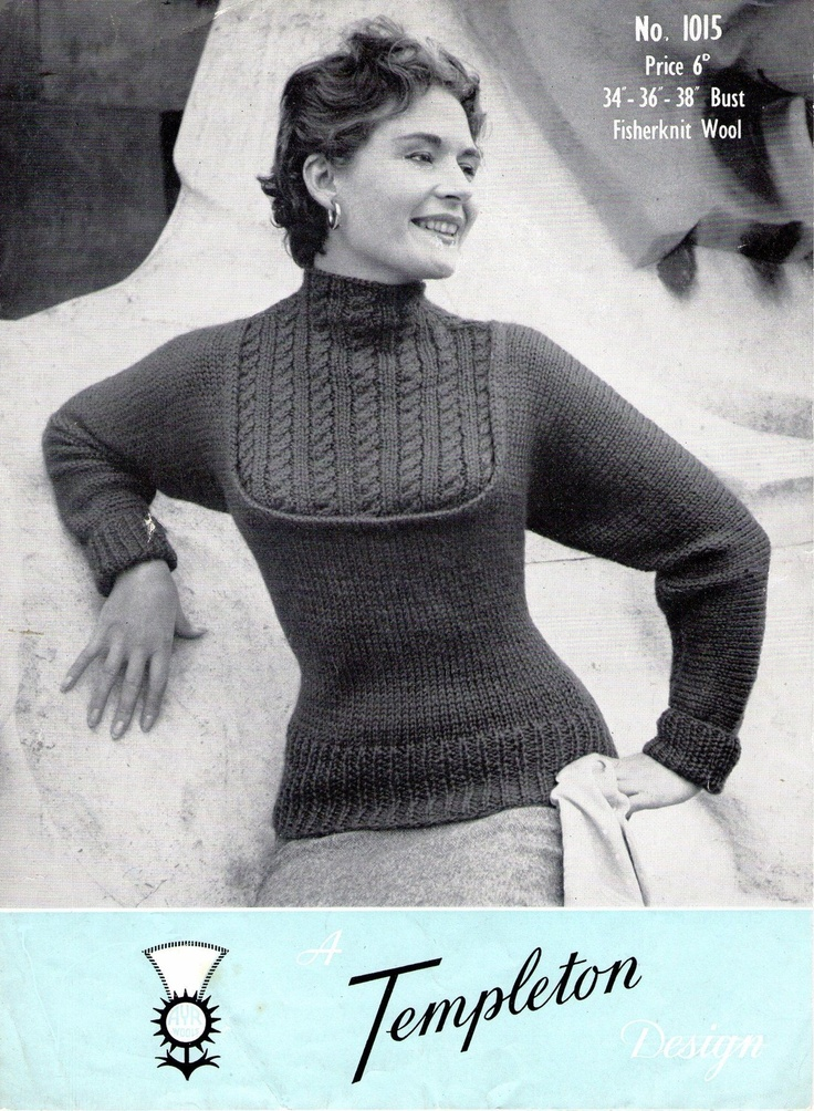 Vintage 1950s Sweater Jumper with Cable Yoke by PamoolahVintage