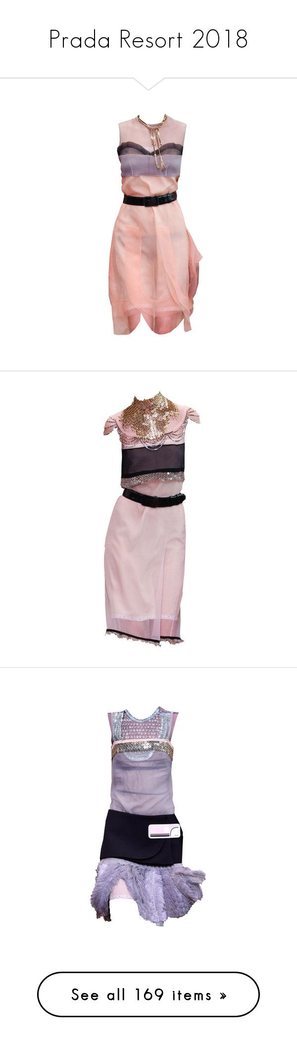 """Prada Resort 2018"" by sella103 ❤ liked on Polyvore featuring edit, prada, dresses, green, sleeveless dress, silk pleated dress, mock neck dress, silk dress, outerwear and coats"