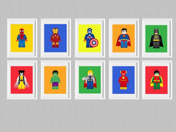 LEGO SUPER HEROES ***Wall Art***     Is perfect for your little ones bedrooms, party decor, playrooms!      °°° This is printable file and no