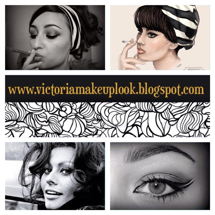 #sophialoren #makeup #victoriamakeuplook #black #white #cigarette #inspired #look