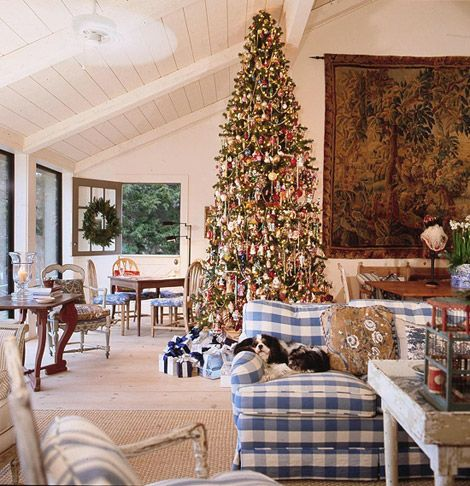 Thinking of buying a 12 foot Christmas tree for either my dinning room or my foyer......maybe both! images charles faudree | Interior Designer Charles Faudree: French Flair - Traditional Home®