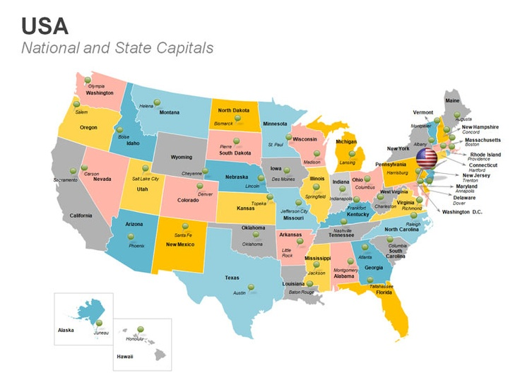 USA Map Editable PowerPoint Template This Deck Of Editable - Usa map with cities