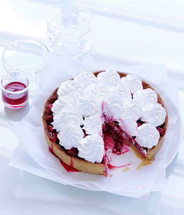 Australian Gourmet Traveller recipe for rhubarb and raspberry meringue tart.