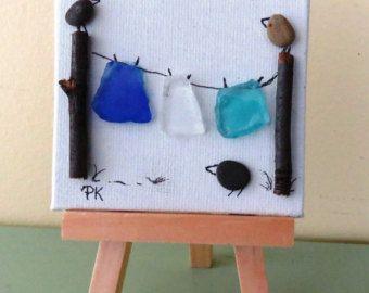 Miniatuur kiezel kunst foto De visser 3 X 3 op Canvas met