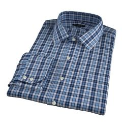 Albiate Blue and Navy Small Plaid Tailor Made Shirt