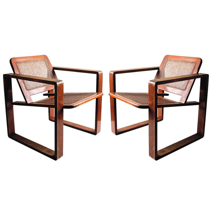 Pair of Bauhaus Style Wood & Cane Armchairs Circa 1925