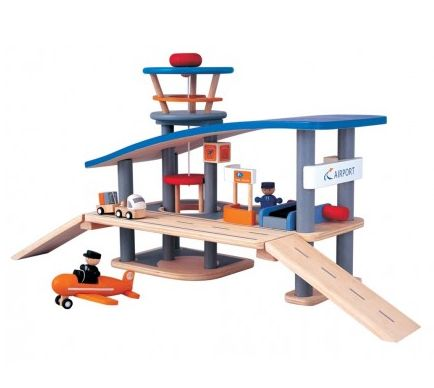 Airport Wooden Play Set ~  This fantastic two storey Airport wooden play set consists of a terminal building, an air traffic control tower and a working lift.  There is a car park on the ground floor and check in counter, luggage conveyor belt and walkway to the departure gates.   This wooden play set also includes an airplane, cargo truck and trailer, pilot and check in staff.  Suitable for ages 3+  £119.99