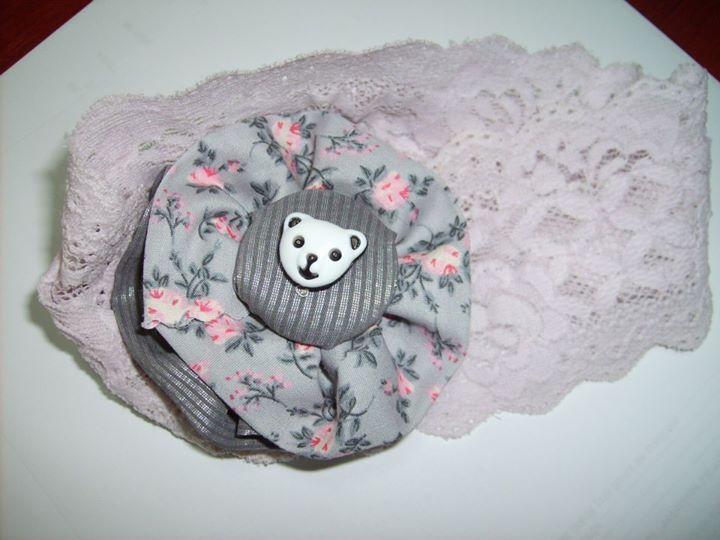 lace headband with joyful teddy bear detail contact: artaduran@gmail.com