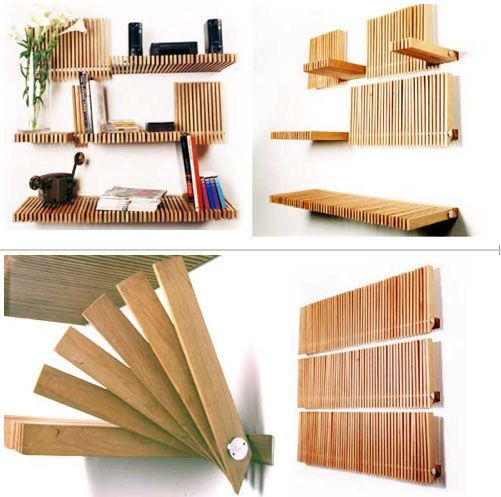 I am speechless........ This is the greatest invention for shelving I've seen so far. Now I just need to figure out how to make it. If anyone out there (carpenters/engineers) can figure this out PLEASE fill me in! Thanks!