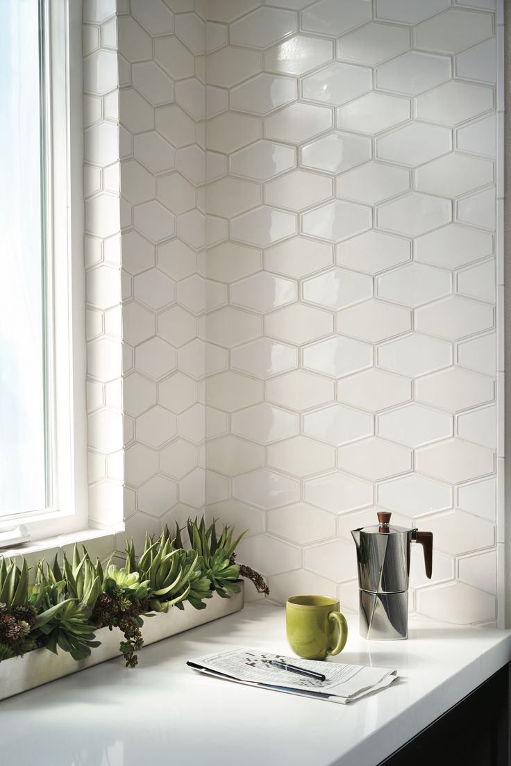 Frame By Barbara Barry Made Ann Sacks Ceramic Tile Backsplash Elongated Hexagon