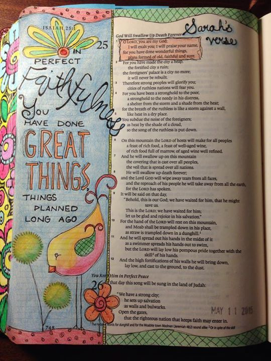 Bible journaling. Isaiah 25:1 using Micron .01 and .05 and Prismacolor Premier colored pencils