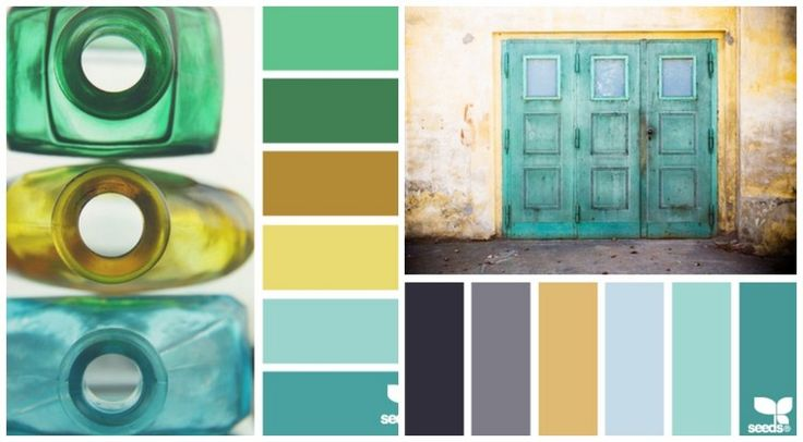 palette de nuances de bleu, vert et jaune pour la cuisine contemporaine