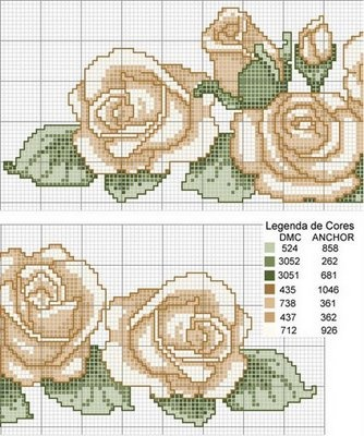 Roses cross stitch pattern and color chart.