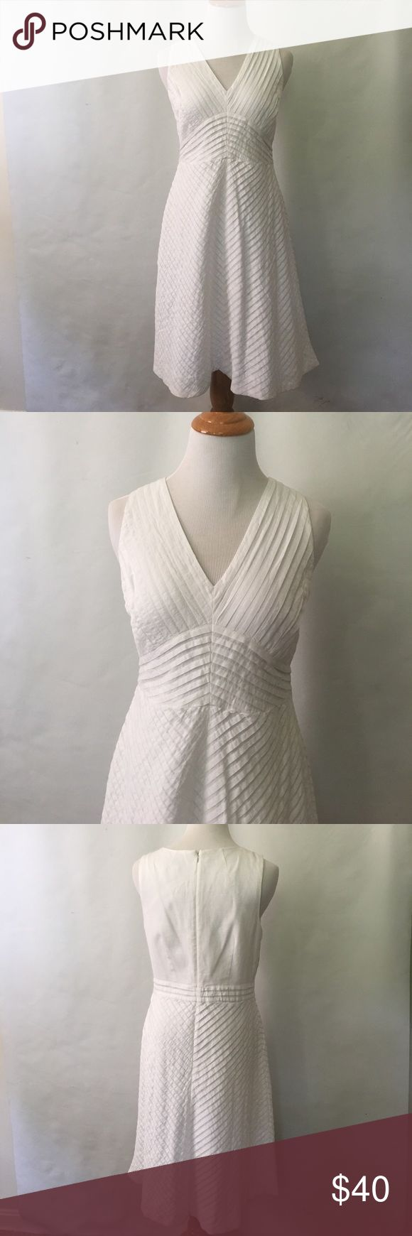 BNWT J.Crew Chevron Pleated dress 8 Brand new with tag. White, size 8. Has the bra holders inside (shoulders) and fully lined. 100% cotton. J.Crew website sells it for $148. J. Crew Dresses