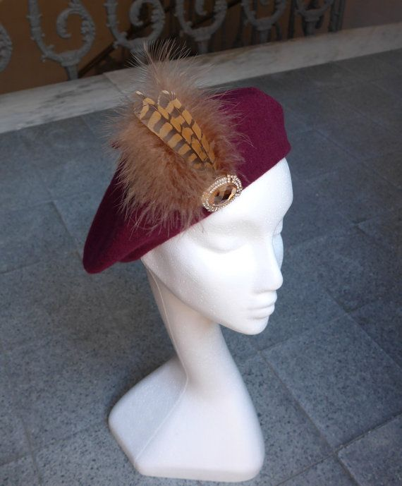Wool Beret Wine Red with Feathers and Vintage by JCNfascinators