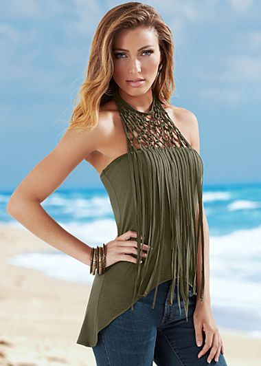 Olive (OL) Fringe Detail Top $36 Living on the fringe of fashion's hottest look is a beautiful place to be! · Sizes: XS (2), S (4-6), M (8-10), L (12-14), XL (16) · High low hemline · Self tie at back neckline · Rayon/spandex. Imported · Style #Y44017