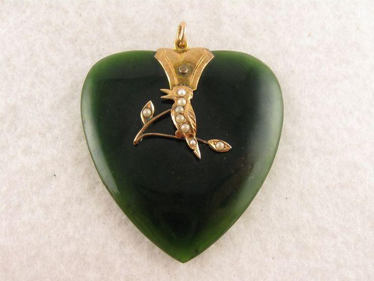 Unusual Antique Victorian 9ct Gold, Jade & Pearl 'Kingfisher' Heart Pendant