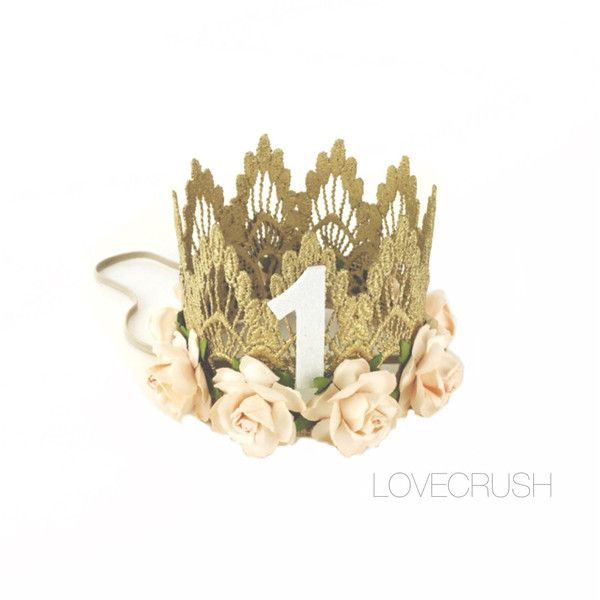 First Birthday Sienna Crown Gold Peach Flowers Lace Crown Headband... ($23) ❤ liked on Polyvore featuring accessories, hair accessories, black, headbands & turbans, gold headband, rose gold headband, flower crown, rose flower crown and flower headband