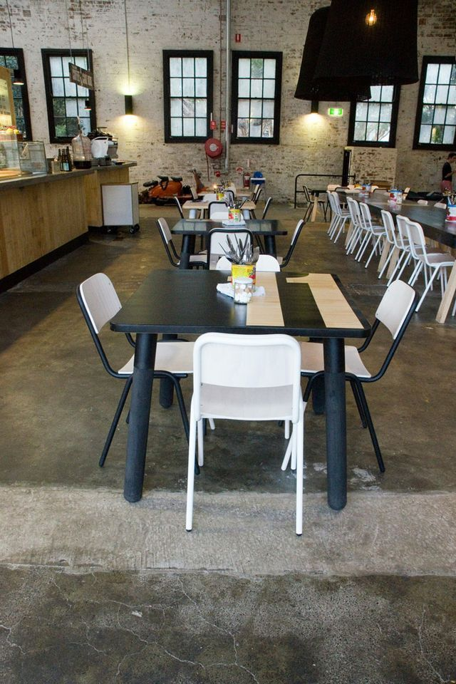 A Design-Worthy Canteen: Kitchen by Mike in Sydney : Remodelista: Koskela Warehouse, Bakery, Cafes, Window Sill, Black Windows, Mikes Place, Kitchen