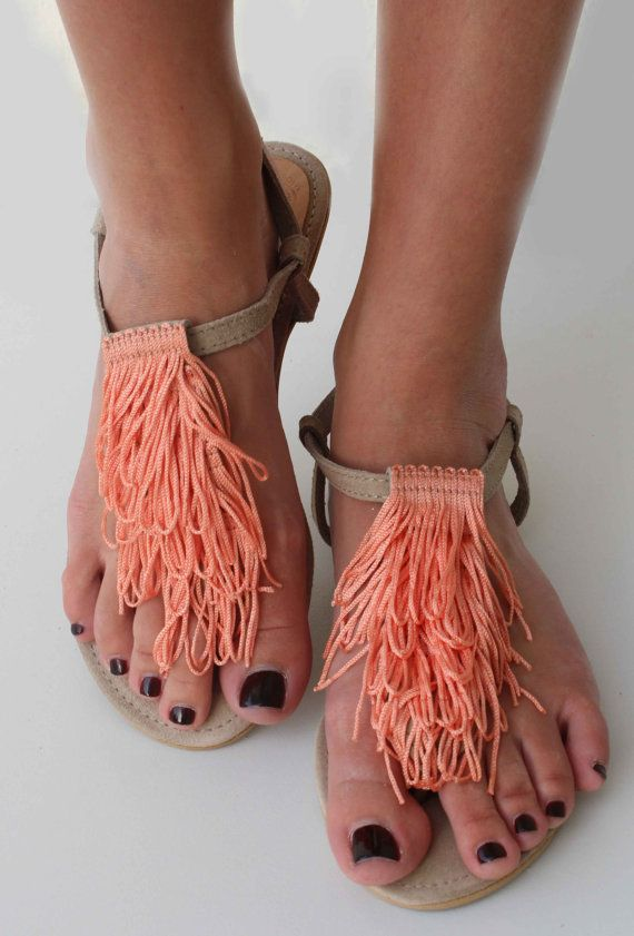 Leather Suede Sandals  Leather and coral por lizaslittlethings, $45.00