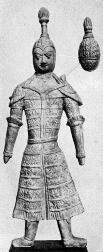 Clay figure. Armoured Cavalryman from Šōrčuq at Qarasahr, Tarim Basin, Central Asia, 8th Century(?)