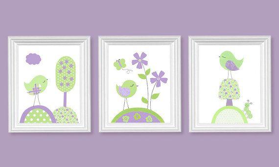 Girl's Room Decor Bird Nursery Art Flowers by SweetPeaNurseryArt, $40.00