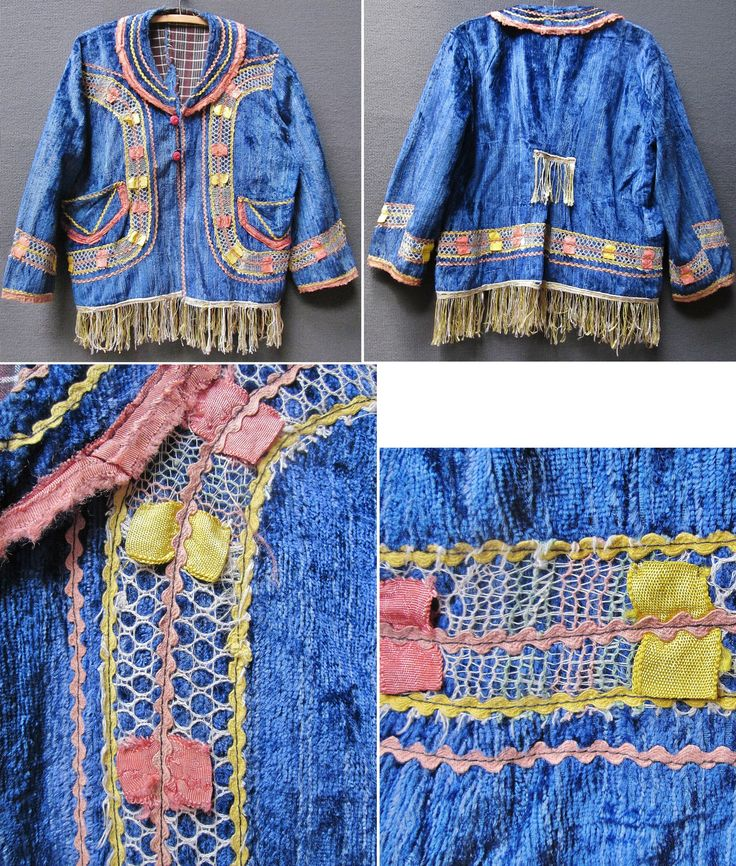 Female 'cepken' (long-sleeved vest) from Türkmen villages in the Sandıklı and Dinar districts (Afyon province), e.g. in the valley of Çölovası.  Part of the traditional bridal/festive costume, mid-20th century.  Velvet, adorned with several kinds of ribbons, patchwork, needle lace and fringes.  (Inv.n° cep043 - Kavak Costume Collection - Antwerpen/Belgium).