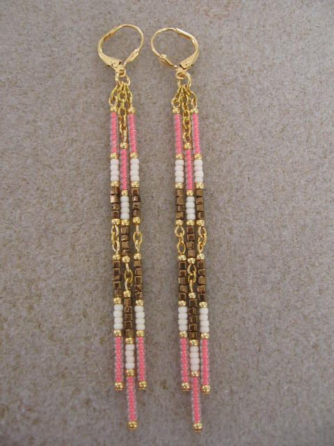 Seed Bead Dangle Earrings- Bronze/Salmon/Cream.