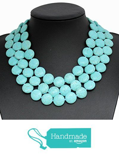 Blue Turquoise Stone 3 Row Multi Beaded Necklace Chunky Necklace Turquoise Necklace Statement Necklace from Thebestshow https://www.amazon.co.uk/dp/B01KR5OREC/ref=hnd_sw_r_pi_dp_oyZ2zbGFQQMBC #handmadeatamazon