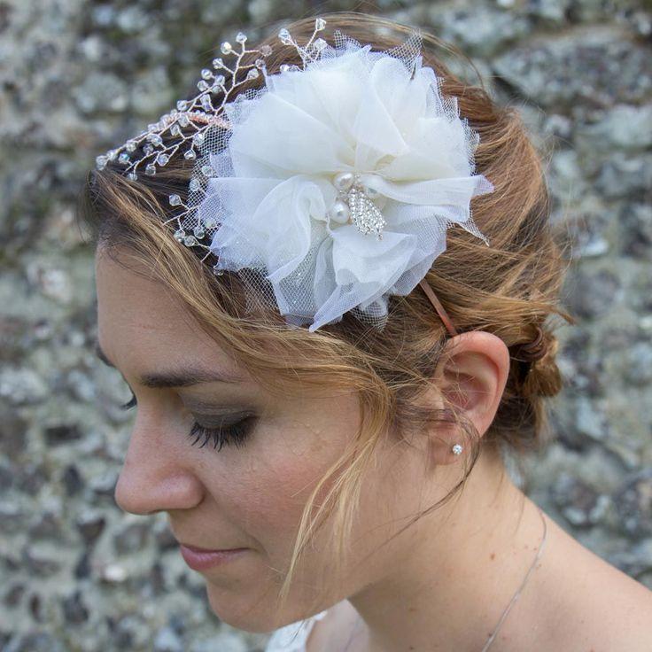 Handmade large flower rose gold crystal headband - Sophia by Ali Rose Bridal www.ali-rose.co.uk