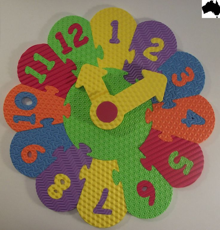 Eva Foam Number Analog Clock puzzle Mat Learn & Play Kids Girl Boy Quality NEW