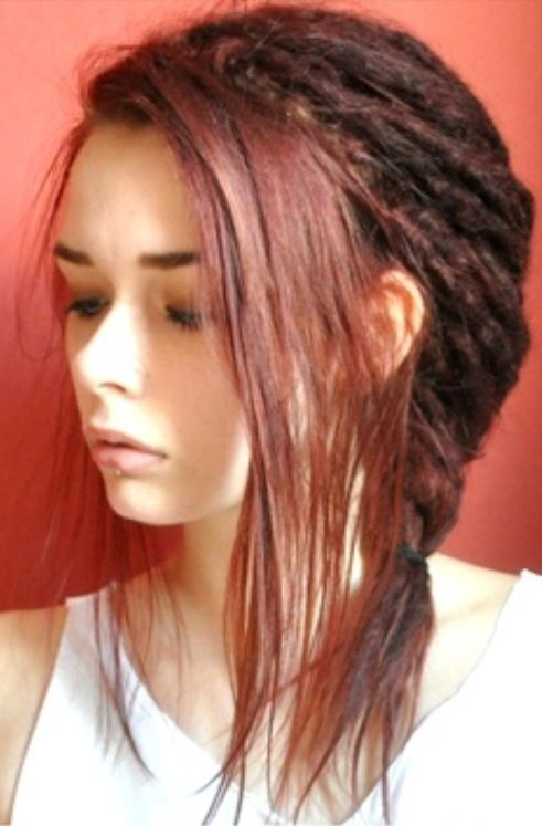 Bangs with short red dreads :: Shop DreadStop.Com for Premium Leather Dread Cuff #dreadstop