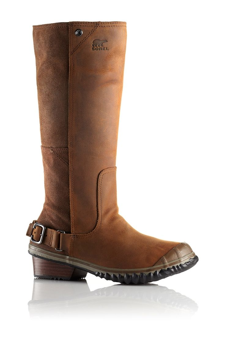 Sorel Women's Slimboot. An embarrassment of riches. Rich full-grain leather, oiled suede panels, a semi-square toe, and stacked leather heel with buckle accents give this sleek, knee-high boot its distinctly western flair. #EscapeOutdoors #Sorel #Women #Slimboot
