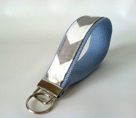 Soft Blue & Grey, perfect for him or her...Blue Grey Chevron Key Fob  Chevron Wristlet Keychain by mizzeztee, $7.50