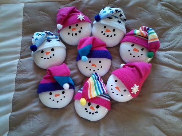 snow people, seasonal holiday decor, Clear glass ornaments filled with epsom salts toboggan hats made from baby socks faces painted on