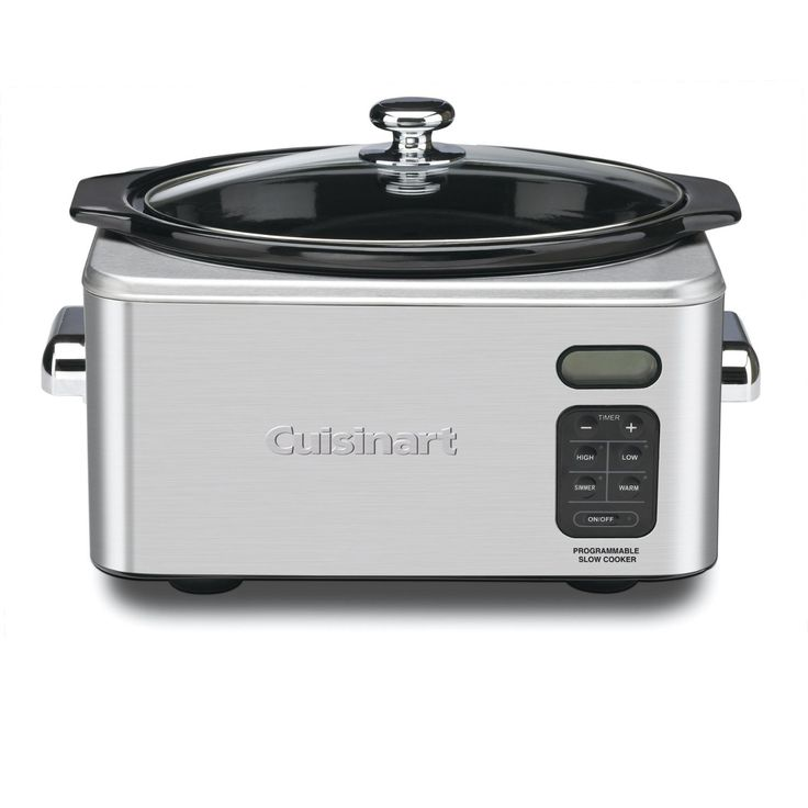 This family-sized Cuisinart slow cooker features 24-hour programmable cook time and a digital countdown timer with three cooking modes. It automatically shifts to Keep Warm when cooking is done to ensure that food is ready and waiting to be enjoyed.