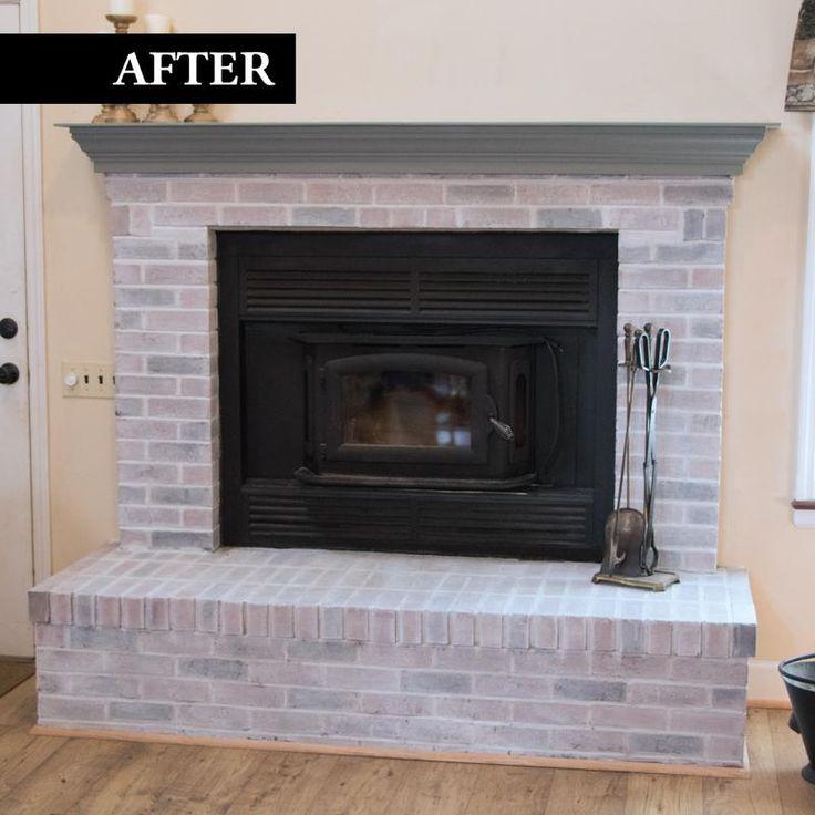 Brick transformations whitewashed kit brick fireplace