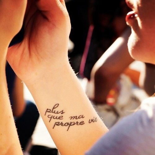 """Twilight tattoo- """"Plus que ma propre vie"""" or """"More than my own life"""""""