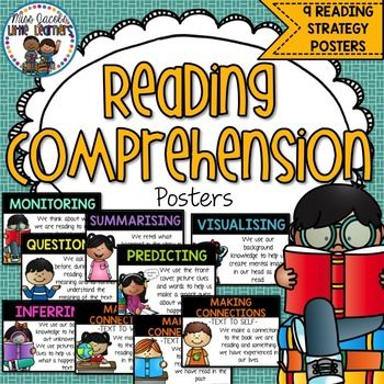 This is a set of 9 Reading Comprehension posters which include:Inferring, Visualising, Visualizing, Text to Text Connections, Text to Self Connections, Text to World Connections, Questioning, Summarising, Summarizing, Monitoring and Predicting.