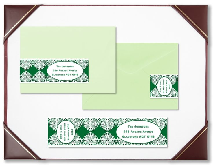 Envelope wraps emerald lace wraparound address labels personalised labels invitations wedding engagement bridal shower baby shower by BootifulLabels on Etsy