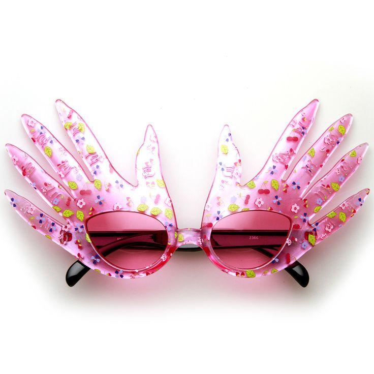 Hand Shape Finger Color Flower Print Costume Party Novelty Sunglasses