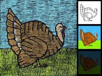 Have students draw turkeys on white paper, color with crayons.  Paint over with…
