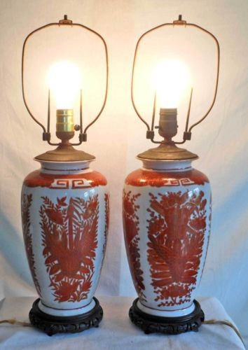 Vintage Chinese Pair Orange White Floral Footed Jar Lamp Ceramic Pottery Urn